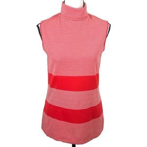 Vintage red stripe hi neck sleeveless zip top 10